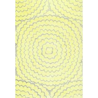 Sample - Schumacher X Celerie Kemble Feather Bloom Wallpaper in Sun & Fog For Sale