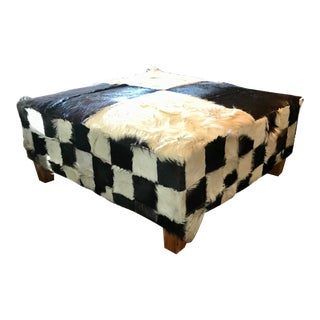 Vintage Black and White Checkered Hair-On-Hide Leather Ottoman For Sale