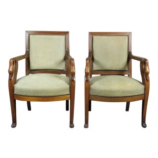 Pair of Empire Style Mahogany Armchairs