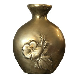 Vintage Solid Brass Vase With Embossed Flowers For Sale
