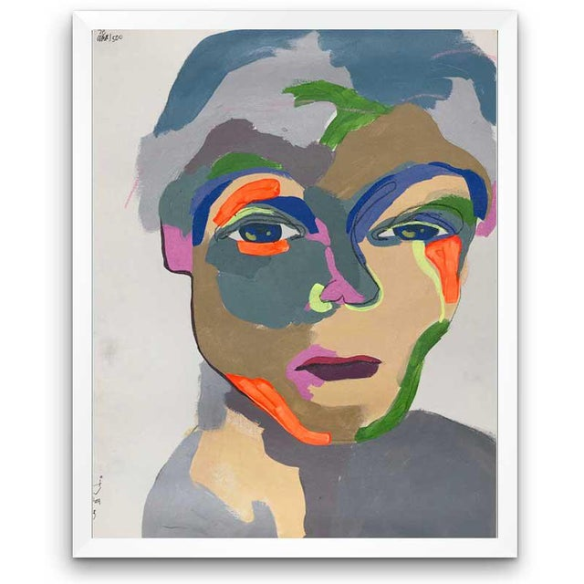 """White Contemporary Abstract Portrait Painting """"What Are You Doing Tonight"""" - Framed For Sale - Image 8 of 9"""