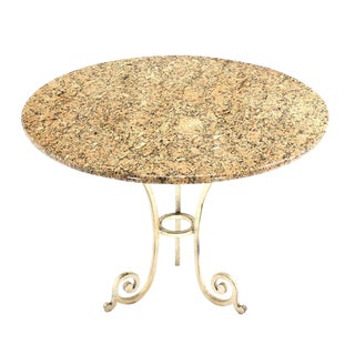 Granite Top Heavy Iron Base Round Gueridon Cafe Center Table For Sale