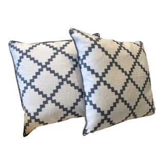 Parsons White & Gray Throw Pillows - a Pair For Sale