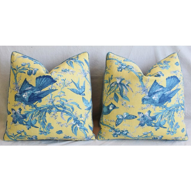 """Feather Designer Blue & Yellow Bird and Butterflies Feather/Down Pillows 21"""" Square - Pair For Sale - Image 7 of 13"""