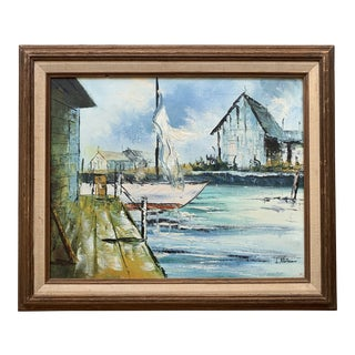 Mid-Century Abstract Dock Oil Painting by L. Nelson For Sale