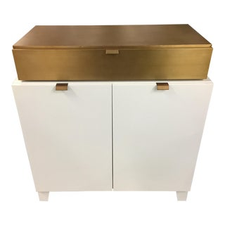 Drexel Heritage Gold and White Cabinet For Sale