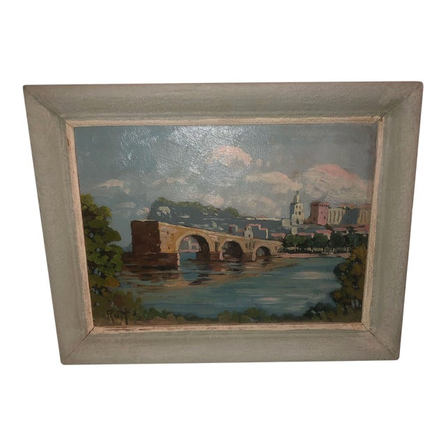 Antique French Painting of the Avignon Bridge For Sale