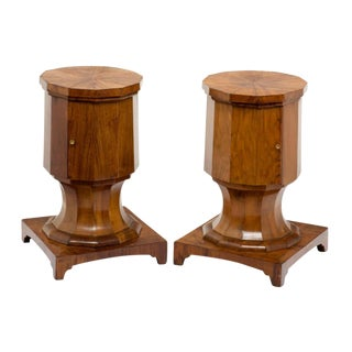 19th Century Italian Walnut Pedestal Cabinets - a Pair For Sale