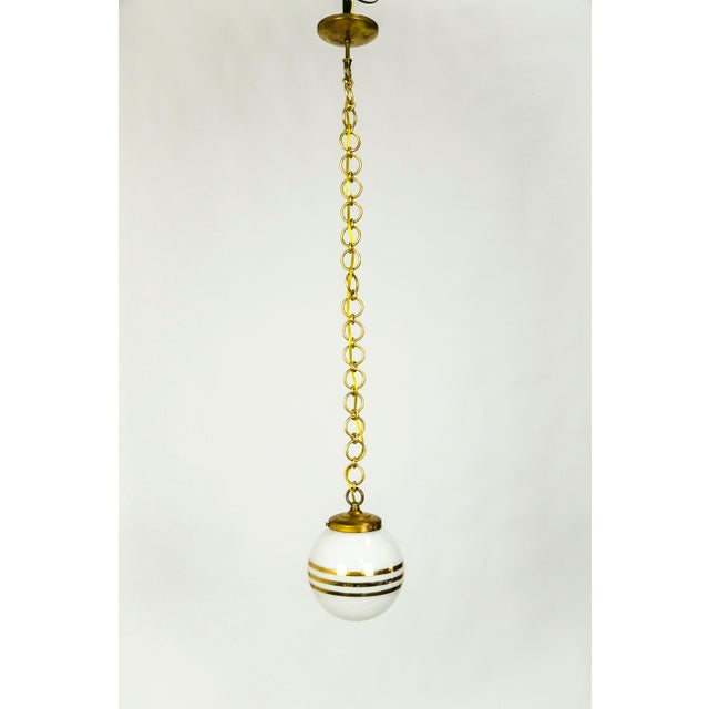1940s 14-Karat Gold Striped Round White Glass Pendants - a Pair For Sale - Image 5 of 9