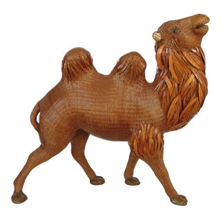Chinese Woven Reed Sculpture of a Camel