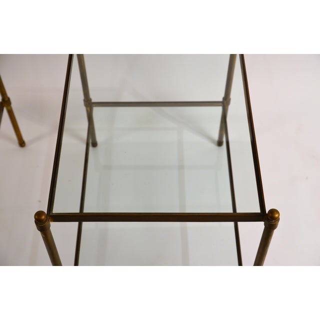 1960s Chic Maison Baguès Style Patinated Brass and Glass Side Tables - A Pair For Sale - Image 5 of 8