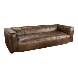 Walter Chestnut Leather Sofa For Sale