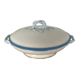 "Late 19th Century Haviland Limoges Porcelain Pear Shape ""Rope & Anchor"" Oval Covered Tureen For Sale"