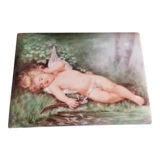 Antique Limoges Porcelain Angel Painting For Sale