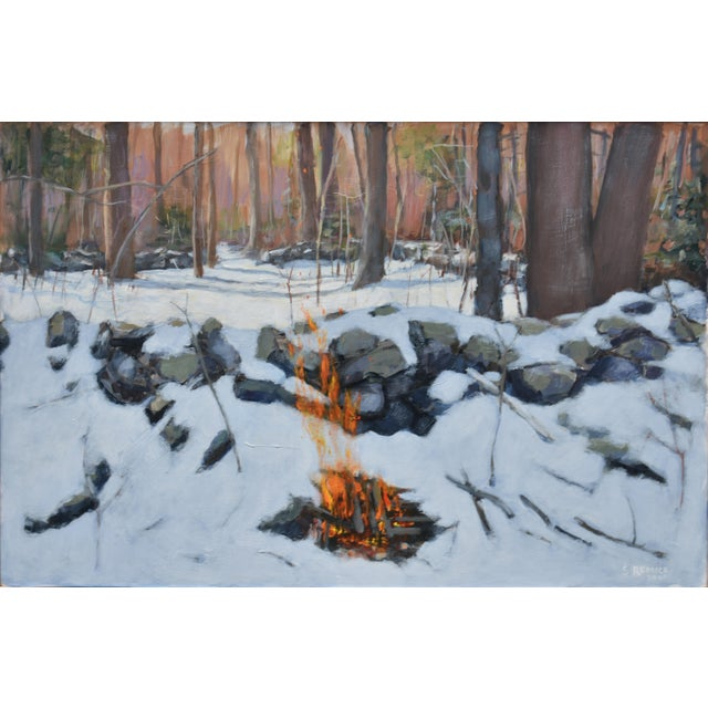 Deep in the winter woods in New England, getting away from everything and pausing with a campfire lunch. A time for...
