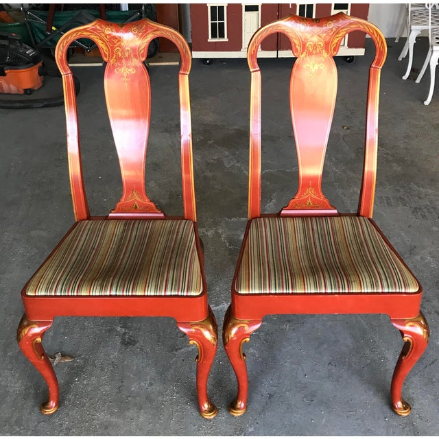 Baker Queen Anne Red Lacquer Chinoiserie Chairs - Set of 8 For Sale In Chicago - Image 6 of 12