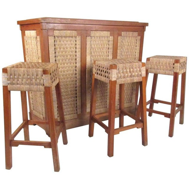 Tropical Tiki Style Dry Bar With Stools For Sale - Image 11 of 11