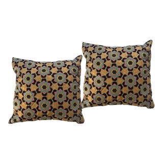 Embroidered Aqua, Peach and Navy Throw Pillows - a Pair For Sale