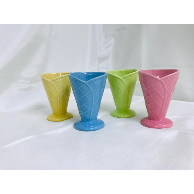 Ceramic Vintage Bright Pastel Ceramic Waffle Cone Ice Cream Parfait Cups - Set of 4 For Sale - Image 7 of 7