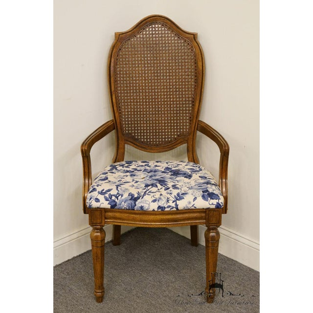 French Country Thomasville Furniture Tapestry Collection Cane Back Dining Arm Chair For Sale - Image 3 of 13