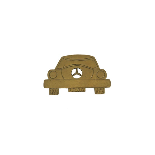 Vintage 1983 Mercedes Benz Car Solid Brass Iron Rest Hot Plate Pad Trivet Stand - Image 4 of 4