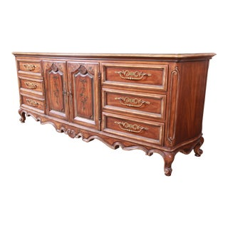 Drexel Heritage French Provincial Louis XV Carved Walnut Triple Dresser or Credenza For Sale