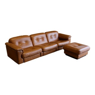 1970s Mid-Century Modern De Sede Brown Leather Sofa and Ottoman - a Pair For Sale