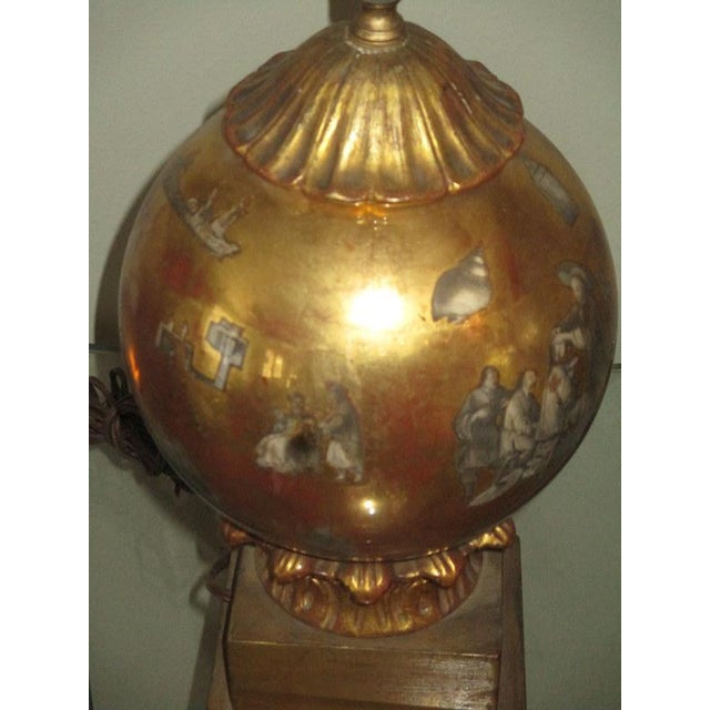 Wood Vintage Italian Reverse Painted Table Lamp With Oriental Scenes For Sale - Image 7 of 13