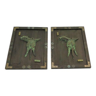 Asian Style Relic Plaques - a Pair For Sale