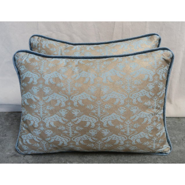 Metal Blue Richelieu Lion Fortuny Pillows - a Pair For Sale - Image 7 of 7