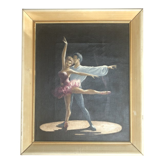 Vintage Oil Painting of Two Classical Ballet Dancers on Stage For Sale