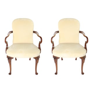 Georgian Style Carved Wood & Upholstered Armchairs For Sale