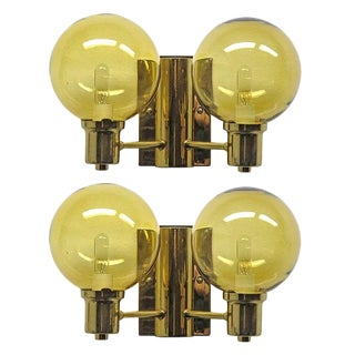 1950s Mid-Century Modern Hans Agne Jakobsen Double Arm Wall Lights - a Pair For Sale