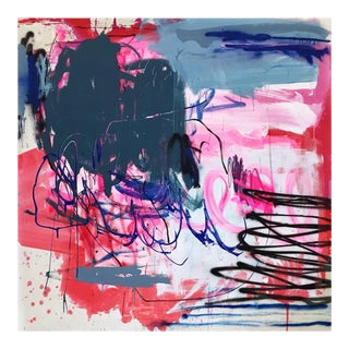 """Contemporary Abstract Acrylics, Oil, Spray Paint on Unprimed Canvas Painting """"Whipping Out My Pink Chevy"""" by Manuela Karin Knaut For Sale"""
