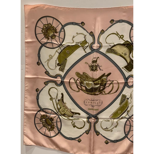 """Traditional Hermes """"Springs"""" Equestrian Themed Silk Scarf For Sale - Image 3 of 6"""