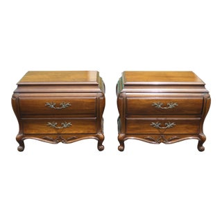Vintage Bombay Bombe Nightstands W Carved Wood by White Fine Furniture - a Pair For Sale
