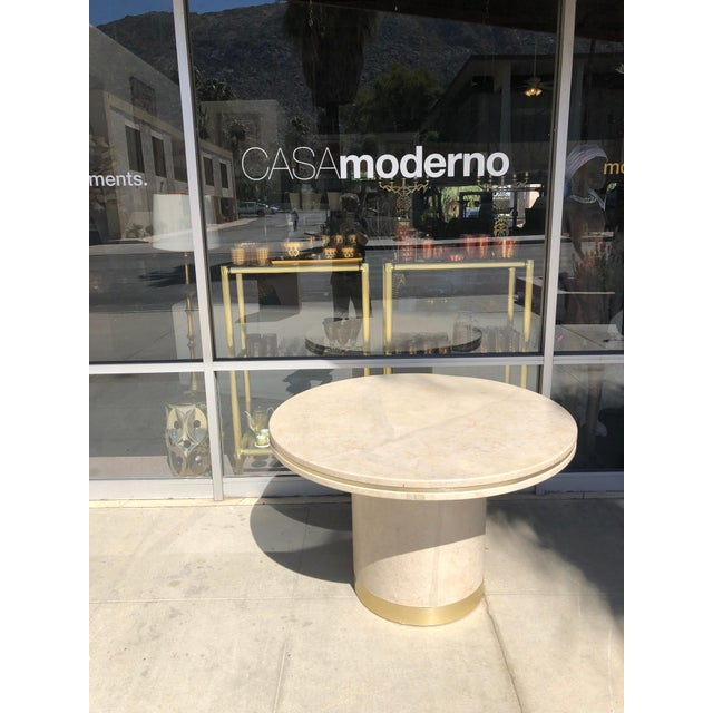 Modern Steve Chase Designed Parchment and Brass Game or Dining Table For Sale - Image 3 of 10