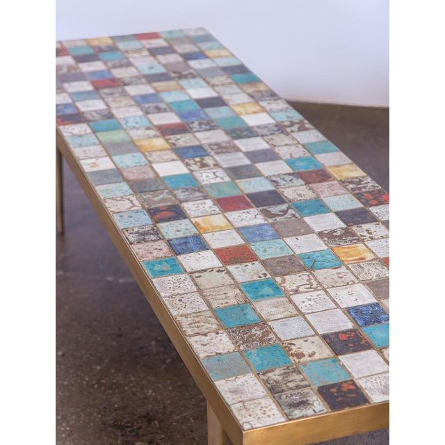 California Modern Tile-Top Brass Coffee Table For Sale - Image 4 of 10
