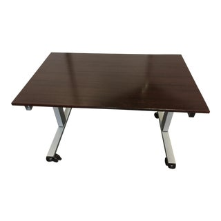 Contemporary Luxor Crank Adjustable Stand-Up Dark Walnut Desk For Sale