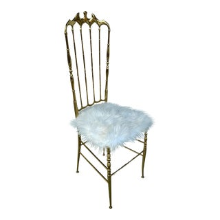 Chiavari Polished Brass Chair, Upholstered in Long Hair Mongolian Goat Hide For Sale