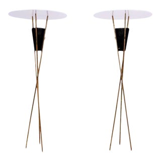 Pair of Tripod Torchieres Floor Lamps For Sale