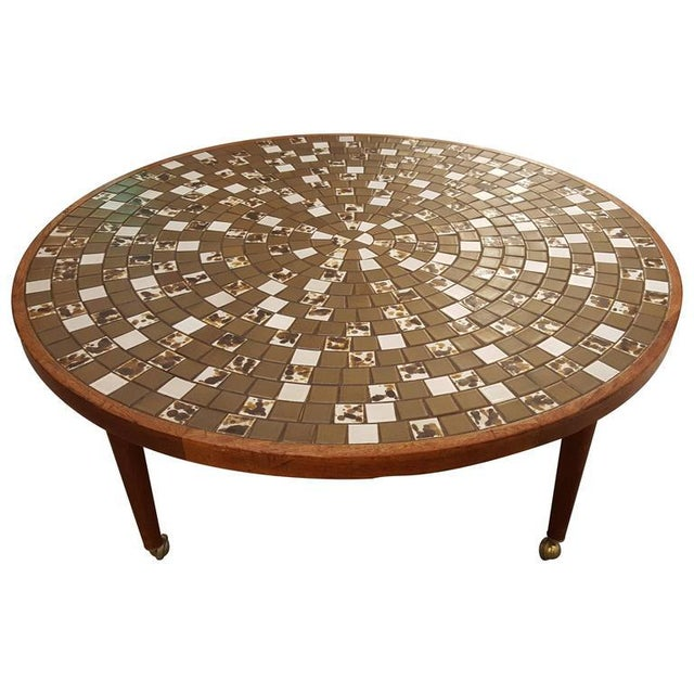Wood Martz Mosaic Tile Coffee Table For Sale - Image 7 of 7