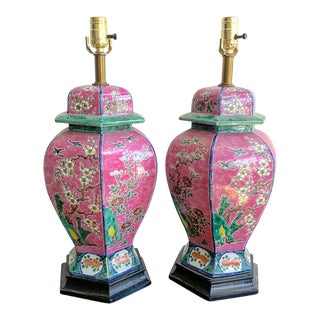 Antique Pink & Green Chinoiserie Pagoda Style Porcelain Lamps