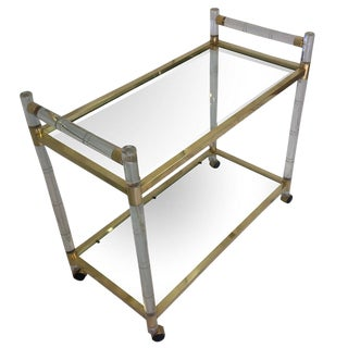 "Charles Hollis Jones Lucite ""Bamboo"" and Brass Serving Cart, Signed and Dated For Sale"