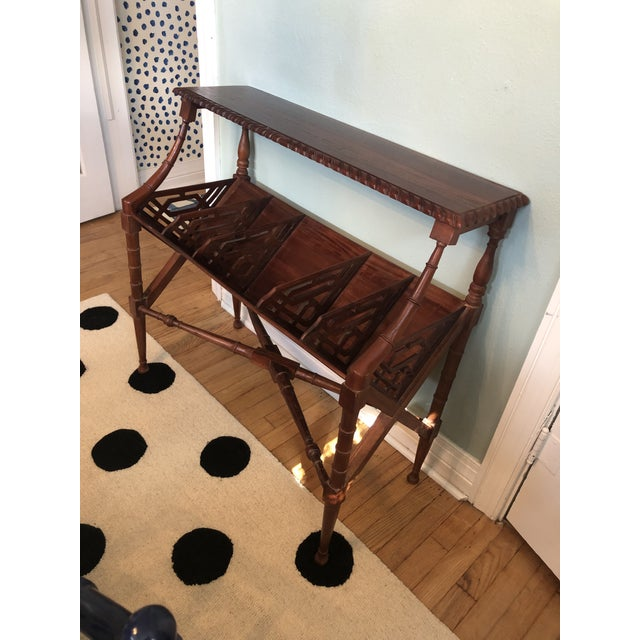 Chinoiserie Chinoiserie Faux Bamboo Book Trough Console Table For Sale - Image 3 of 8