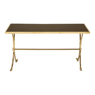 French Solid Brass and Black Coffee Table For Sale