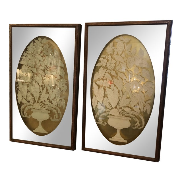 Large Eglomise Reverse Painting on Glass Silver and Gold Leaf Panels -A Pair For Sale