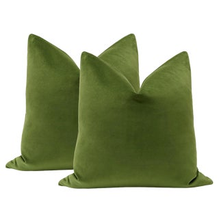 "22"" Peridot Velvet Pillows - a Pair"