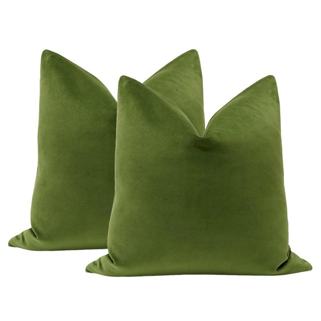 "22"" Peridot Velvet Pillows - a Pair - Image 1 of 5"