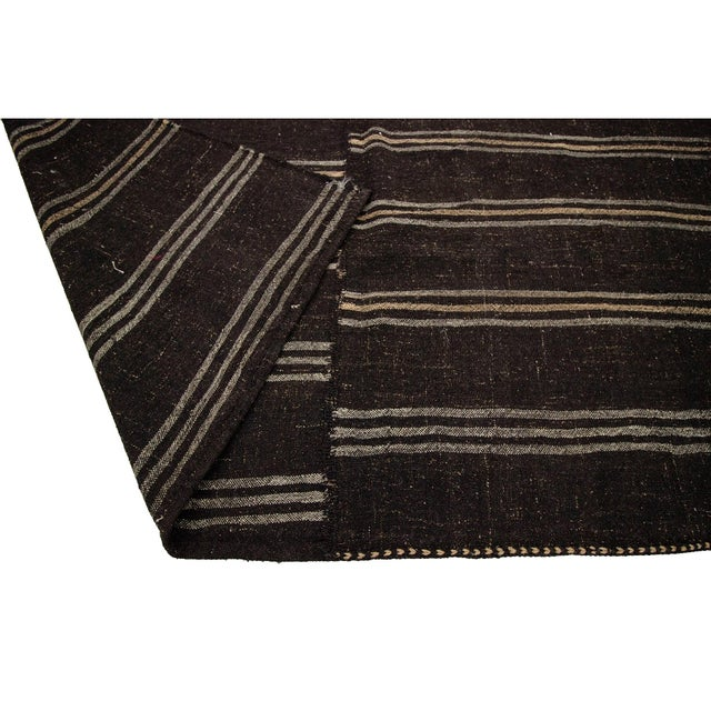 1960s 1960s Vintage Dark Brown Striped Kilim Rug- 9′ × 9′3″ For Sale - Image 5 of 7